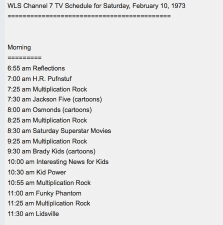 ABC schedule for Saturday morning, February 10, 1973 (source: The Museum of Classic Chicago Television)