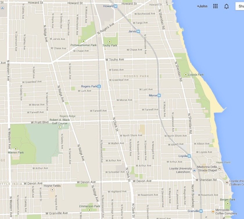 Rogers Park, Chicago, my old stomping grounds (source: Google Maps)